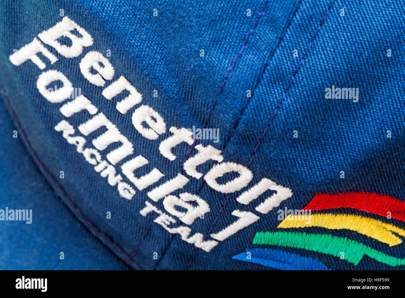 Benetton Formula 1 racing team detail on baseball cap - Stock Image