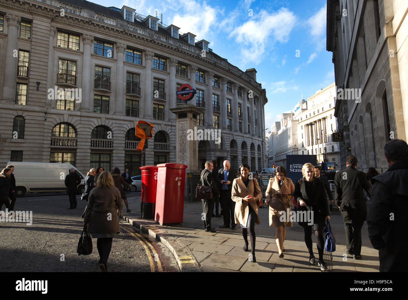 Lombard Street, From Bank junction, where nine streets converge by the Bank of England, Lombard Street runs southeast, - Stock Image