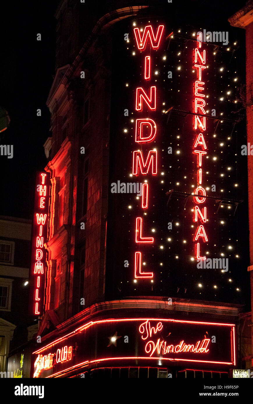 The Windmill Theatre in London now renamed as Windmill International. - Stock Image