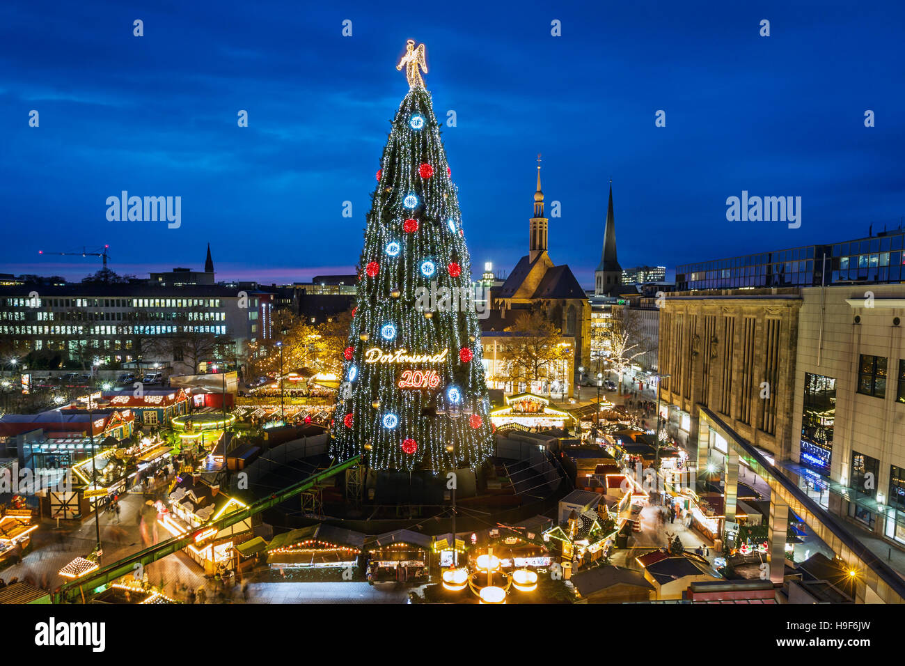 Dortmund / Germany, Nov. 22th. 2016 - The world's largest Christmas tree - Made of 1700 red spruce and with - Stock Image