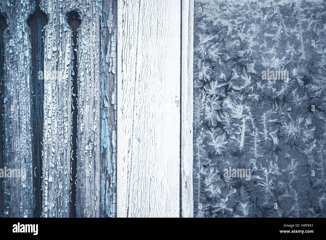 Winter Background With Frost Pattern On Rustic Window Copy Space
