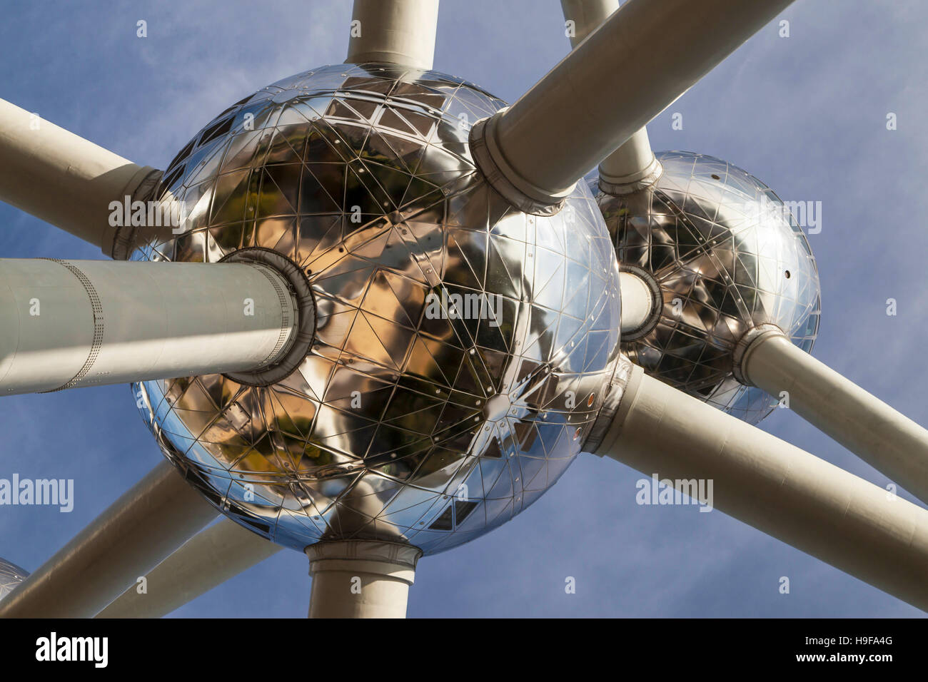 Atoms of the Atomium in Brussels, Belgium. - Stock Image