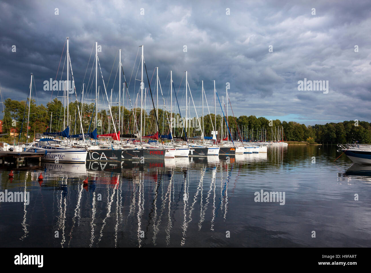 Marina with sailboats in Giżycko, Lake Kisajno, Mazury Lake District, Poland - Stock Image