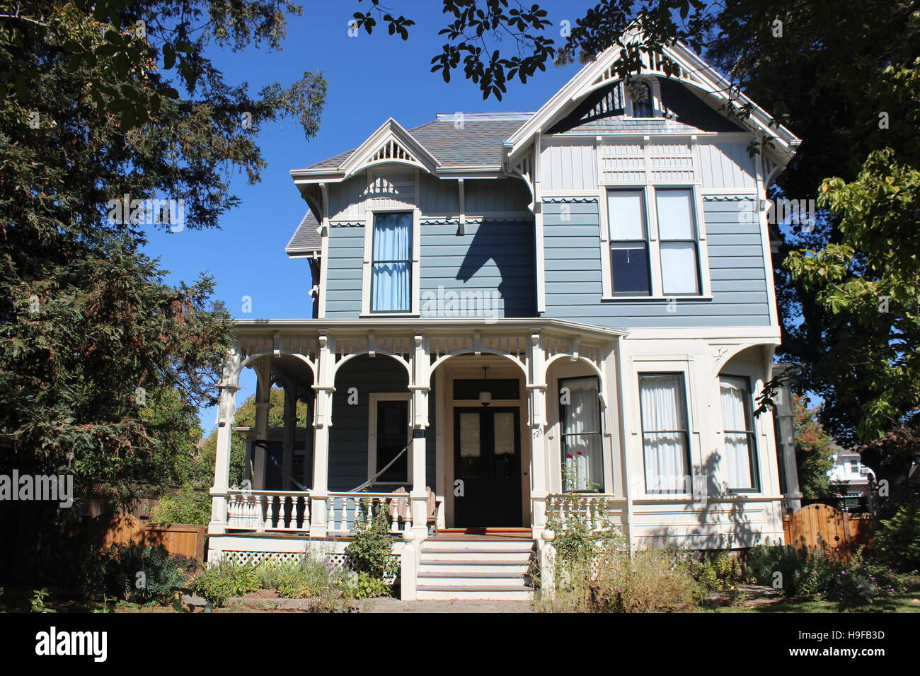Eastlake or Stick-style House, Cherry Street, Santa Rosa, California - Stock Image