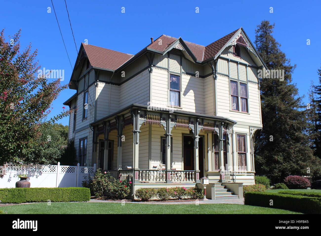 Eastlake Stick style House, Cherry Street, Santa Rosa, California - Stock Image