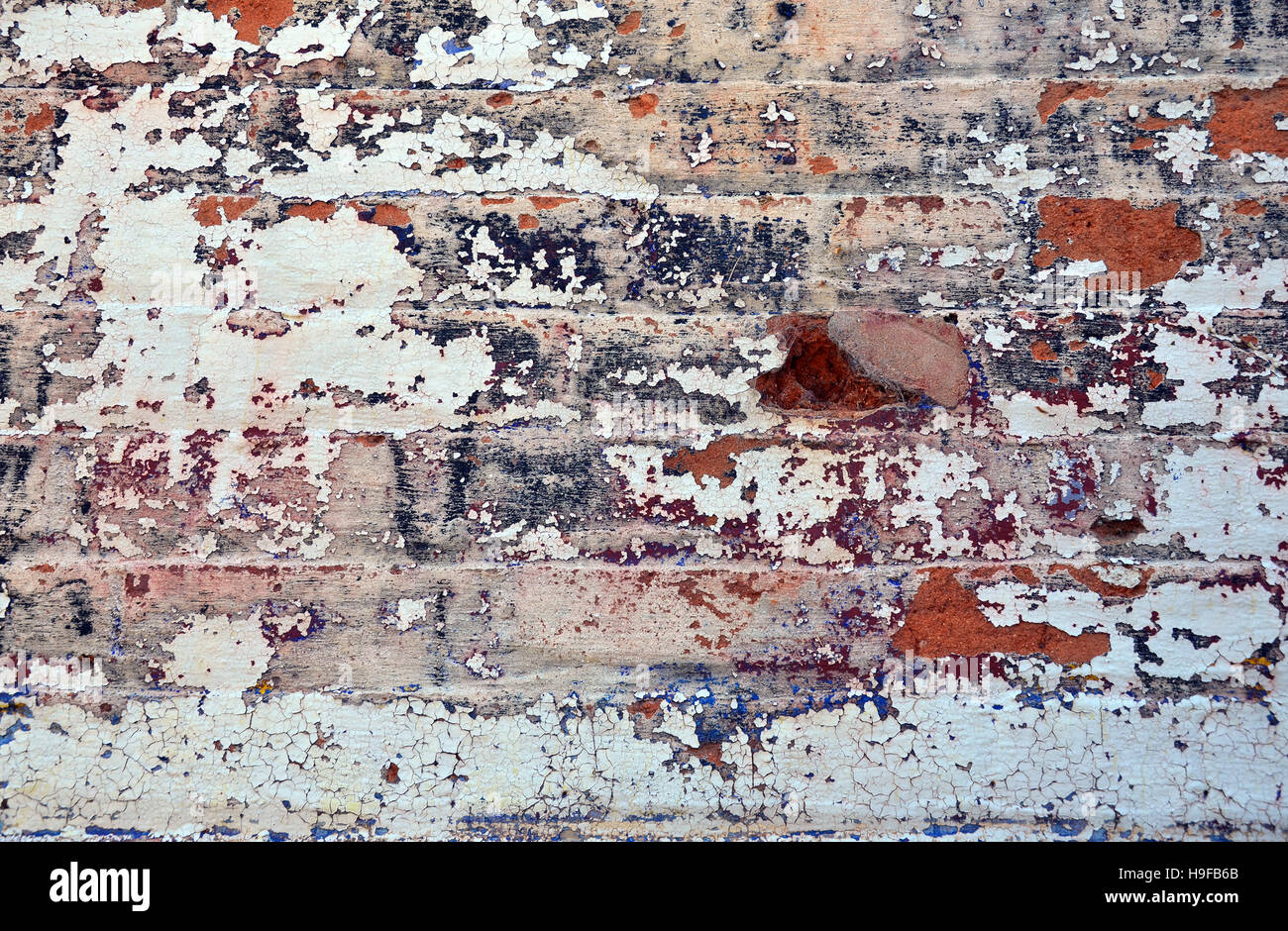 Old layers of colorful peeling paint on exterior brick, wall of a ...