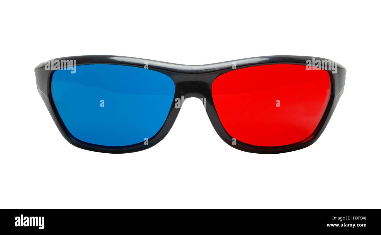 Cut Out Black Plastic 3D Glasses Front View. - Stock Image