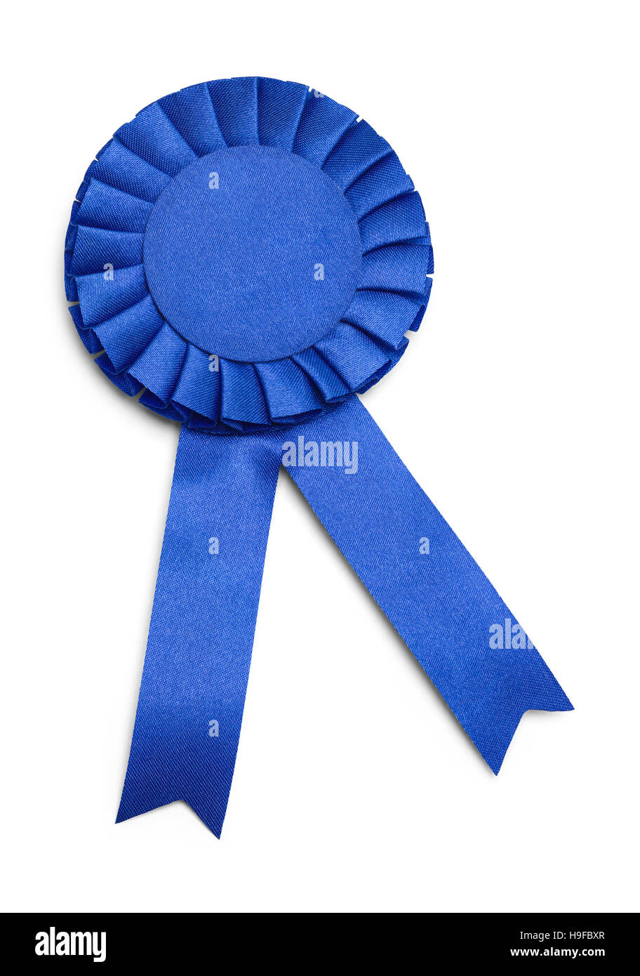 Blue Award Ribbon with Copy Space  Isolated on White Background. - Stock Image