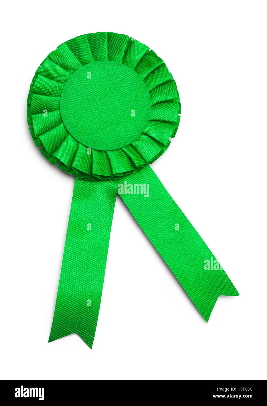 Green Award Ribbon with Copy Space  Isolated on White Background. - Stock Image