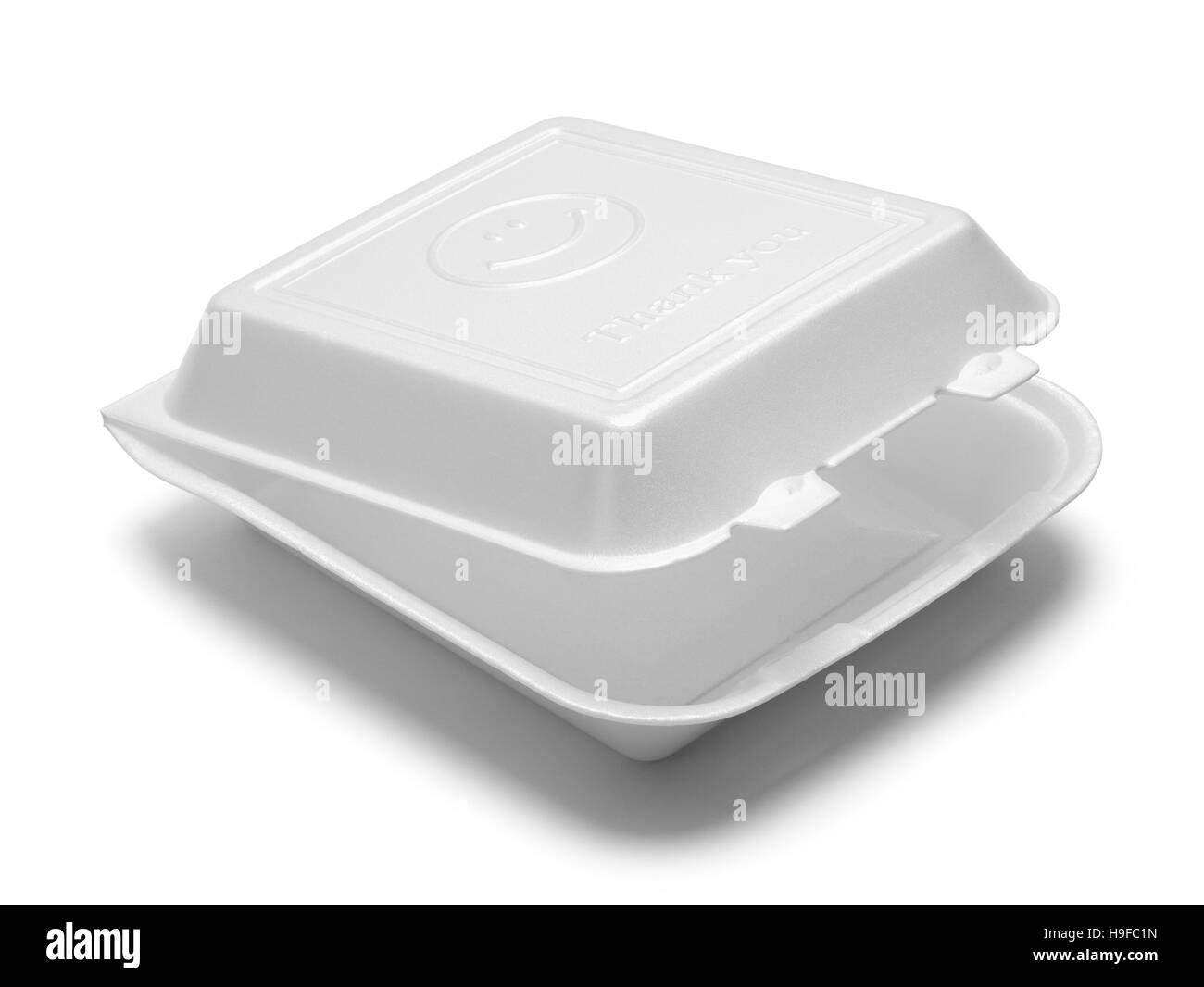 Open Styrofoam To Go Box Isolated on White Background. - Stock Image