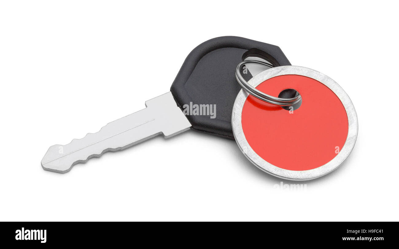 Car Key with Red Tag Isolated on White Background. - Stock Image