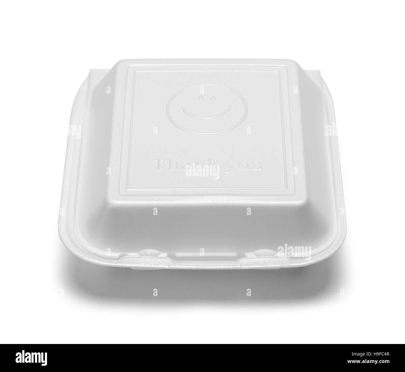 Styrofoam Take Out Box Isolated on White Background. - Stock Image