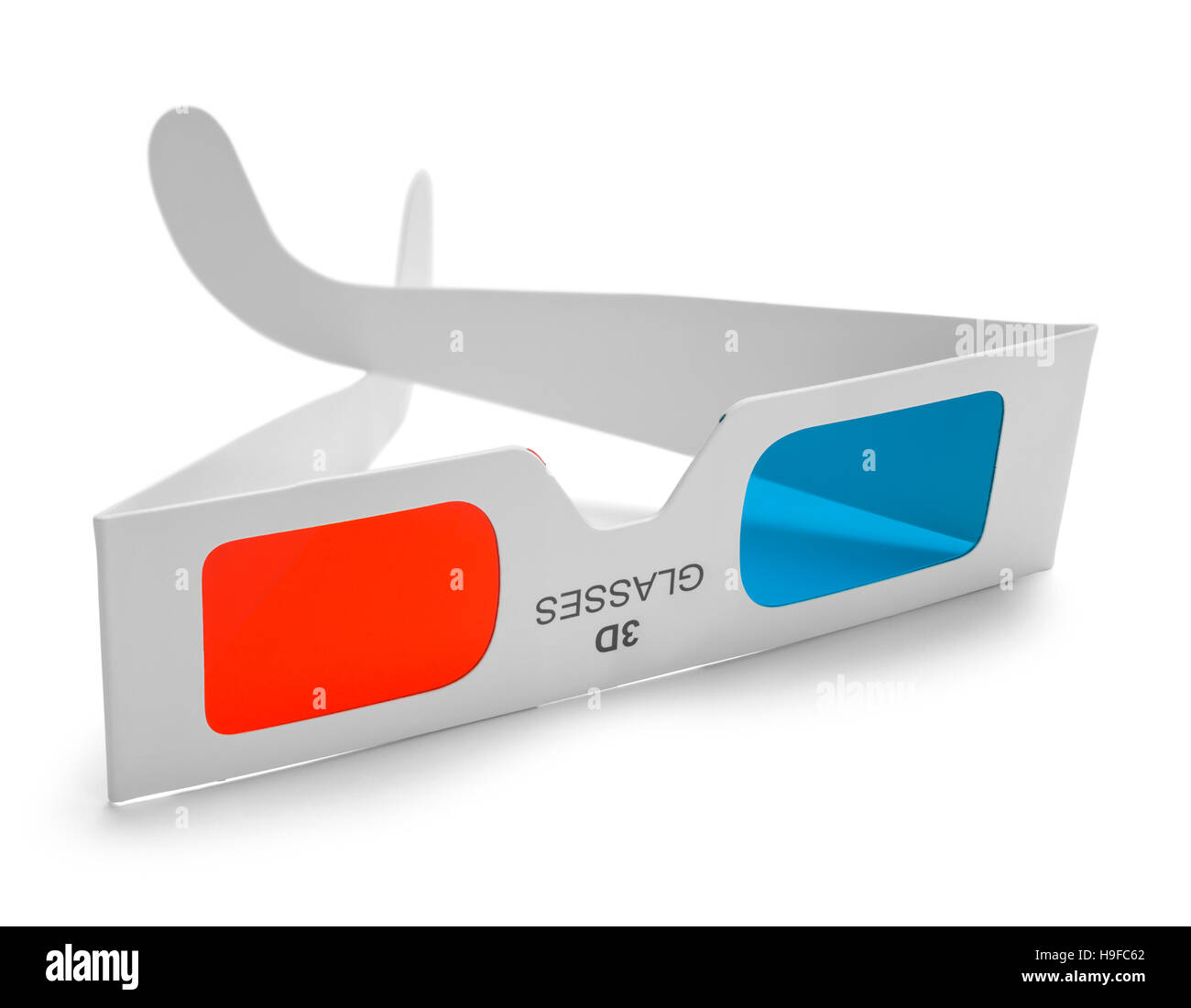 Used 3D Movie Glasses Isolated on White Background. - Stock Image