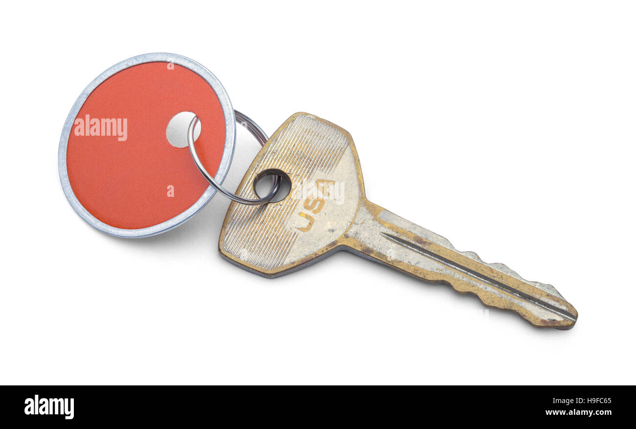 Car Key and Tag Isolated on White Background. - Stock Image