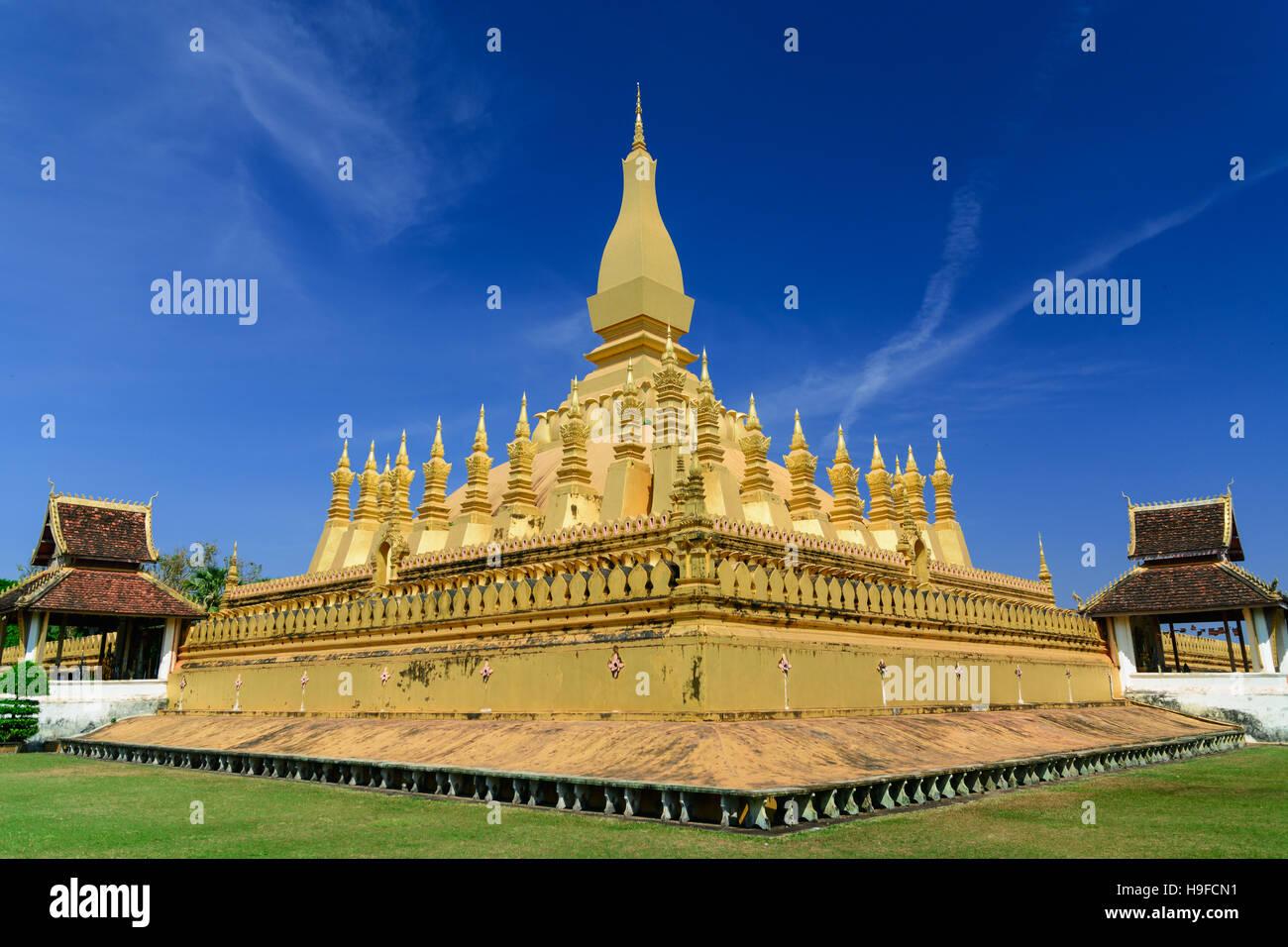 Pha That Luang Vientiane Landmarks of Vientiane, Laos. - Stock Image