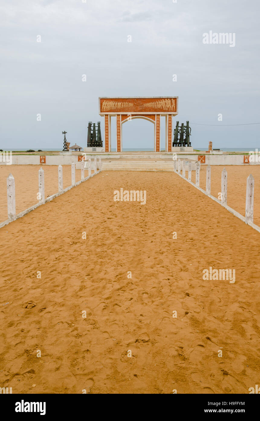 Monument or memorial of the slave trading time at the coast of Benin - Stock Image