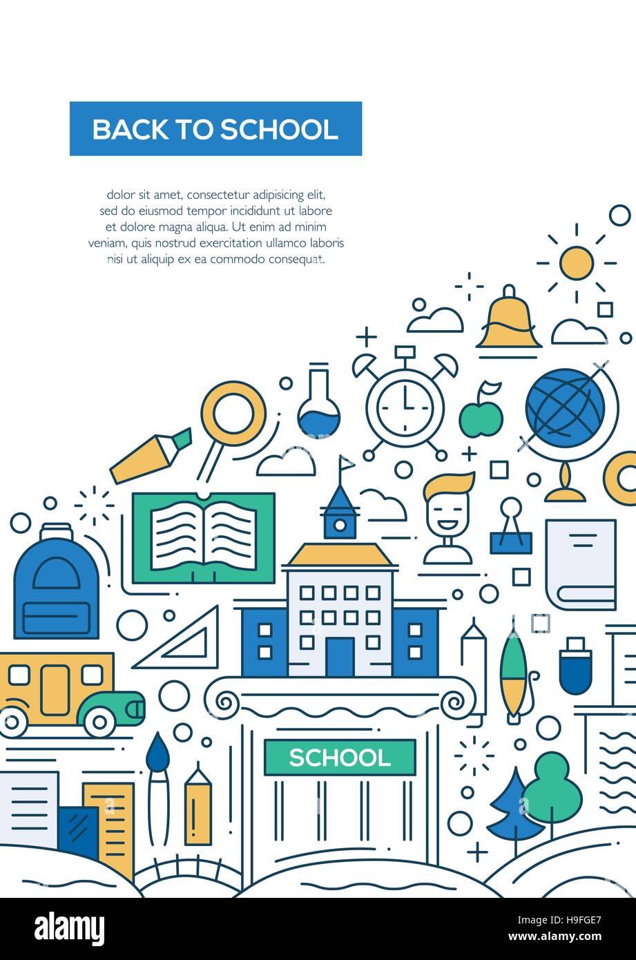 back to school vector line design brochure poster flyer stock