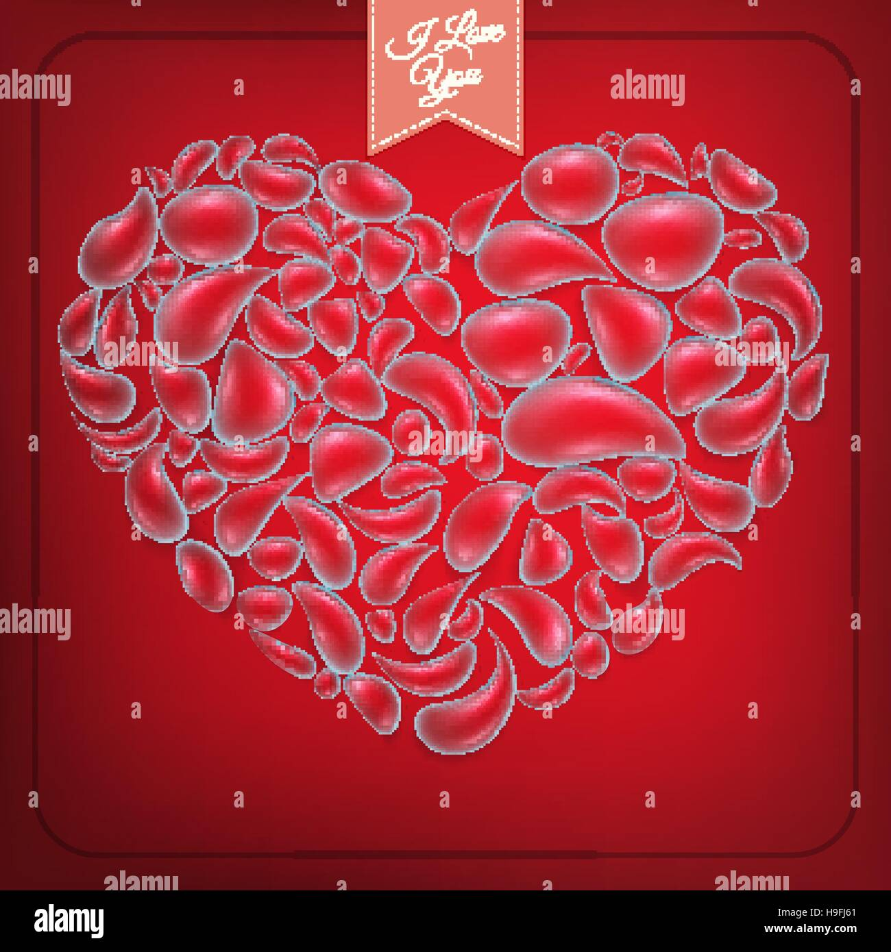 Heart from water drops on red background. EPS 10 Stock Vector