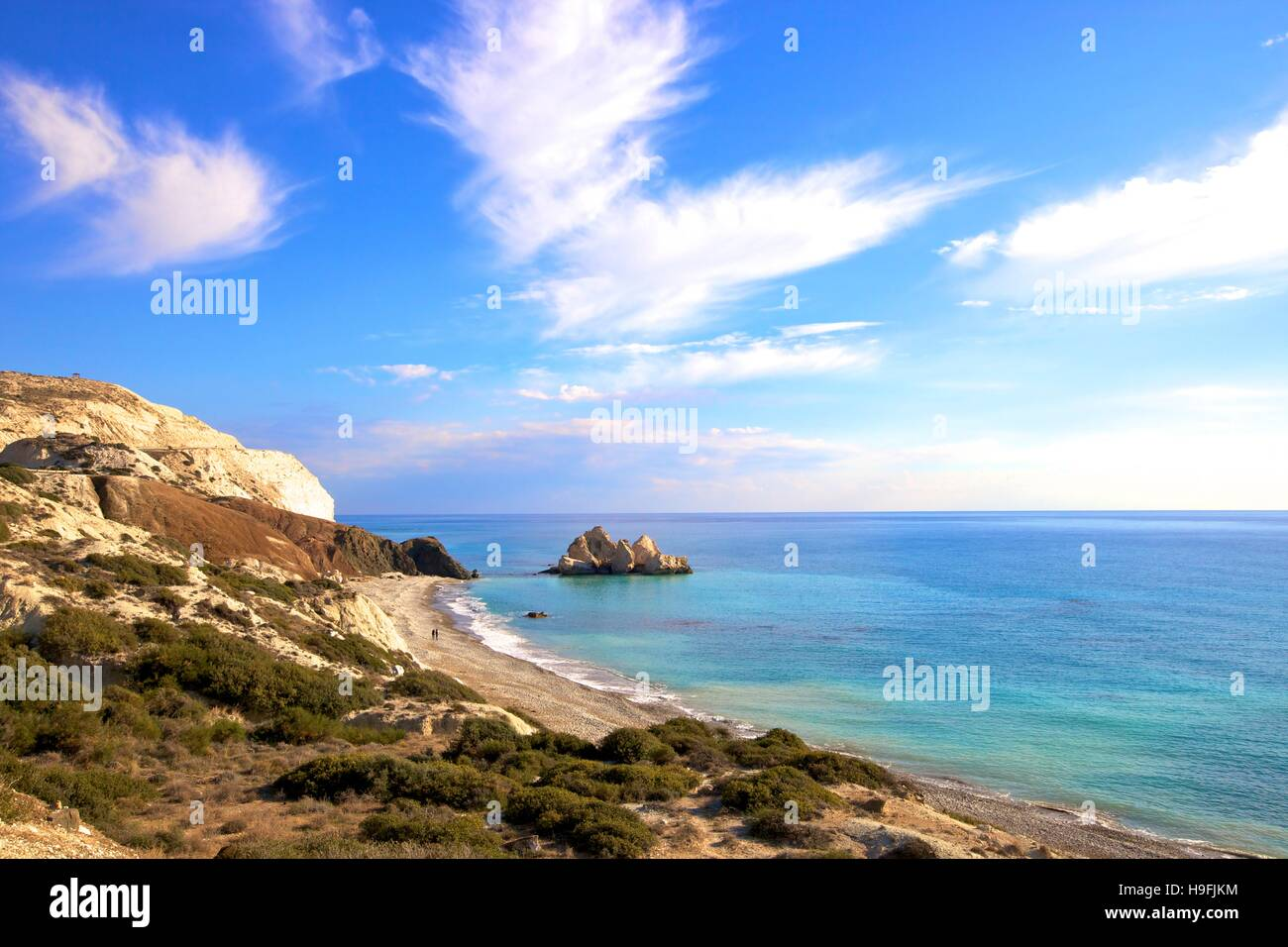 Saracen Rock, Paphos, Cyprus, Eastern Mediterranean Sea - Stock Image