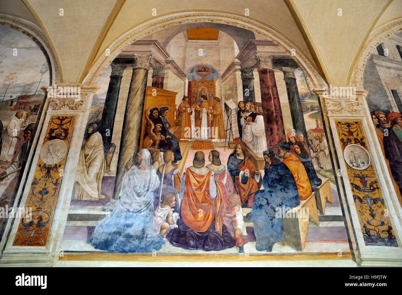 renaissance frescos, st Benedict life, painting by Il Sodoma, Chiostro Grande (Great Cloister), Abbey of Monte Oliveto Stock Photo