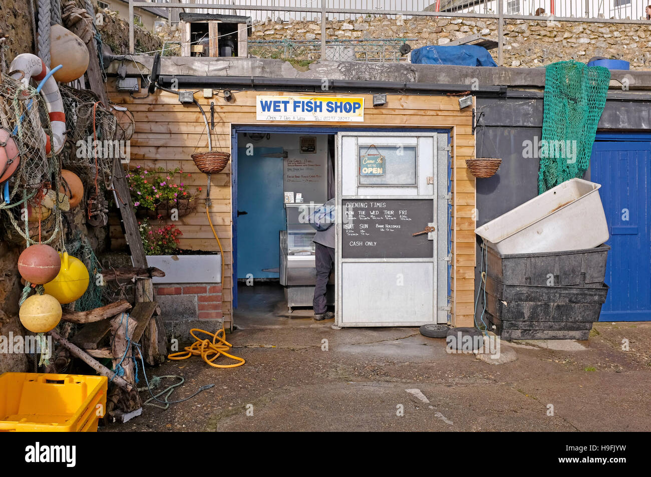 Wet Fish Shop on beach at Beer Devon West Country UK November 2016 - Stock Image