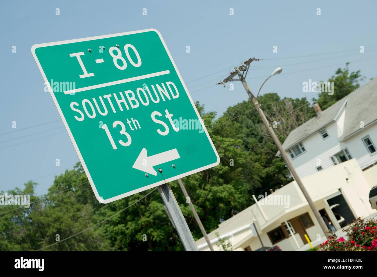 Road sign for I-80 in Omaha, Nebraska, USA - Stock Image