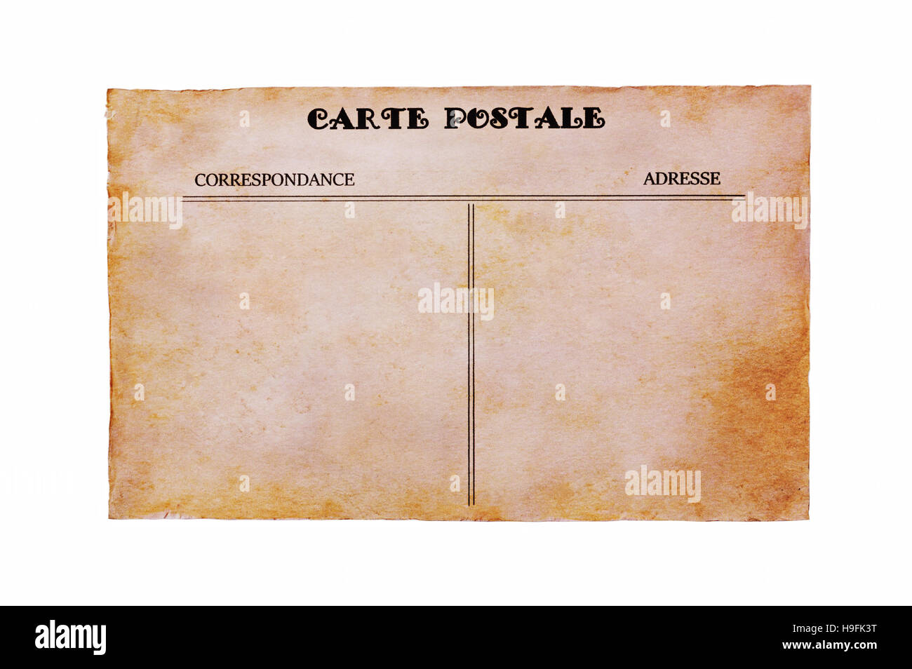 Vintage post card close up isolated on white - Stock Image