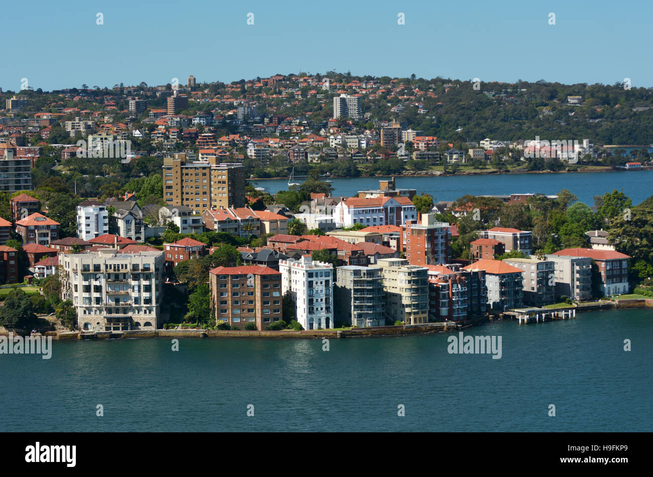 Aerial landscape view of Kirribilli suburb in North Sydney New South Wales Australia - Stock Image