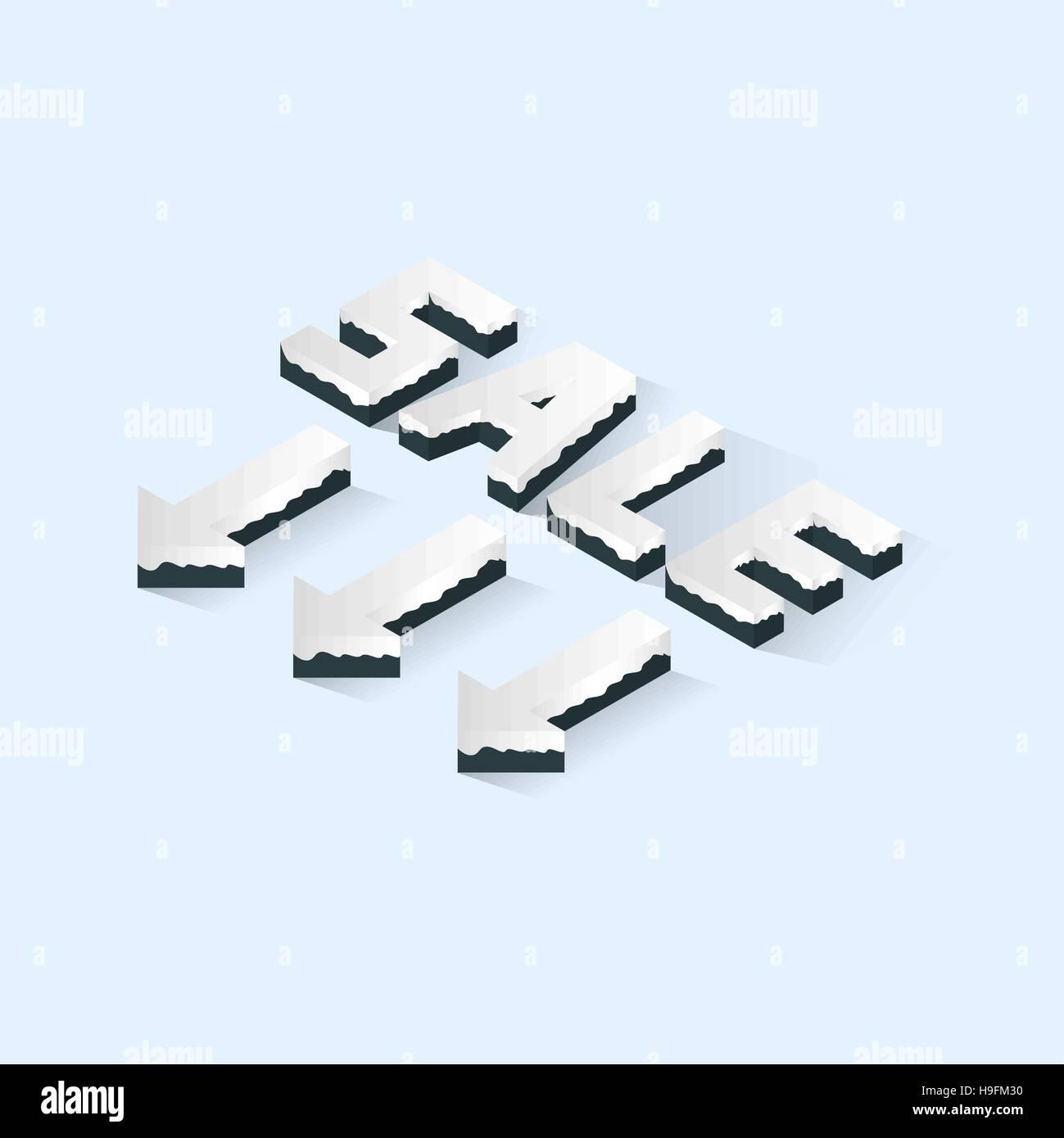 Isometric Snowy Sale Text - Stock Image