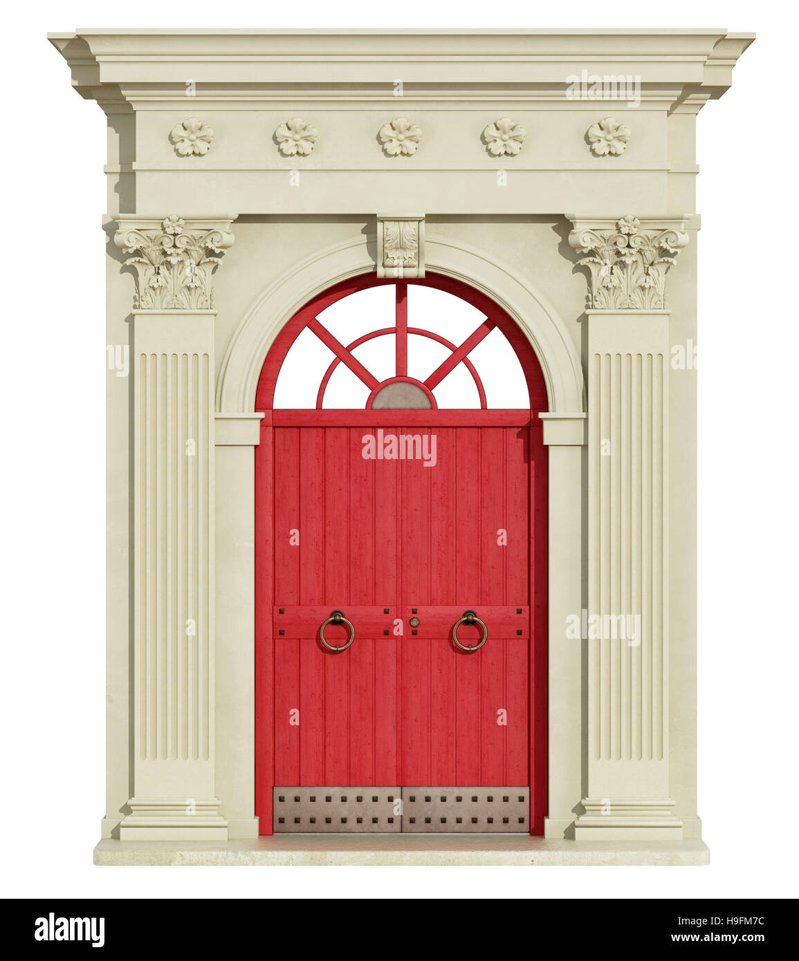 Classic Arch With Corinthian Column And Red Front Door   3d Rendering