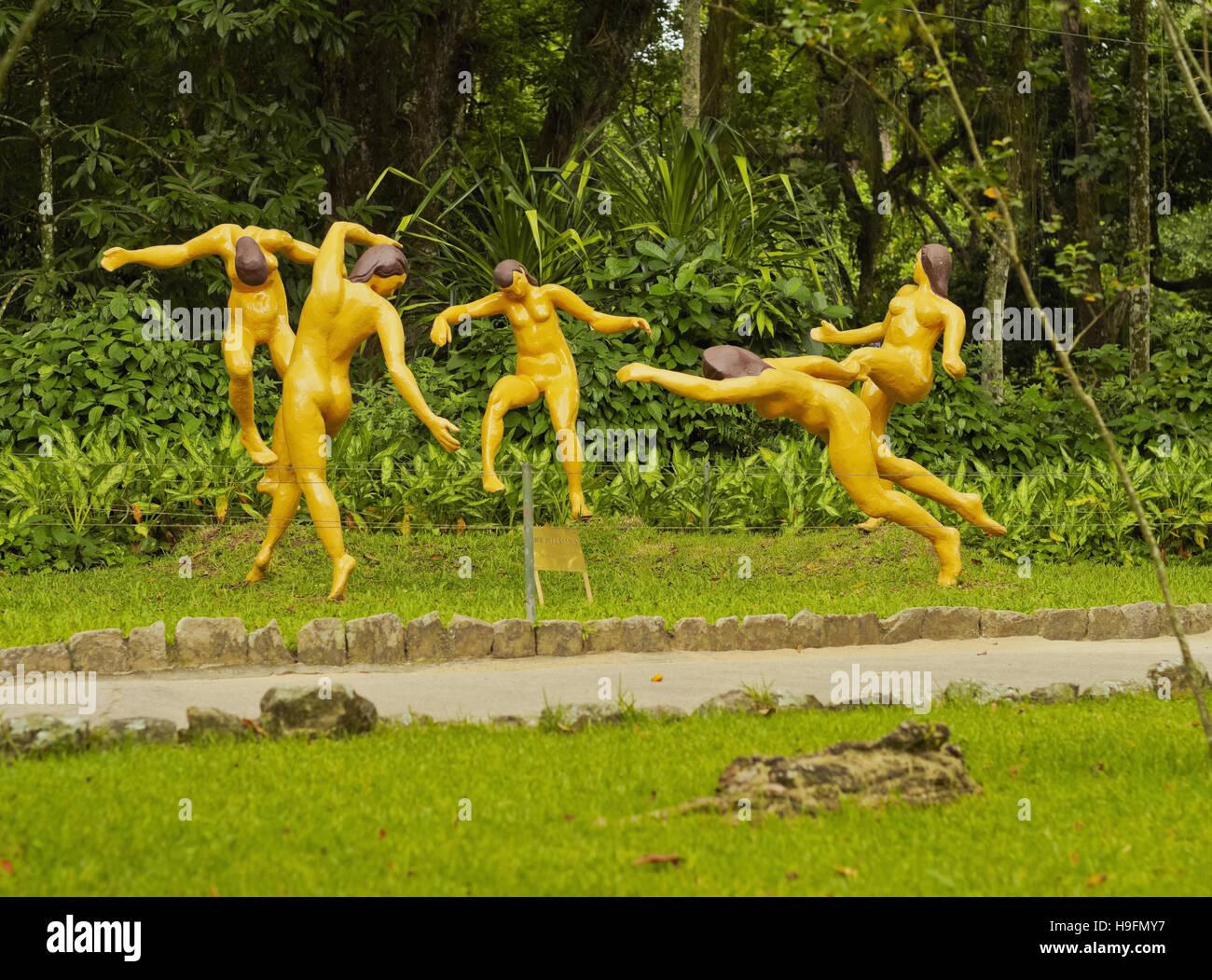 Brazil, City of Rio de Janeiro, Zona Sul, Sculpture in the Botanical Garden. Stock Photo