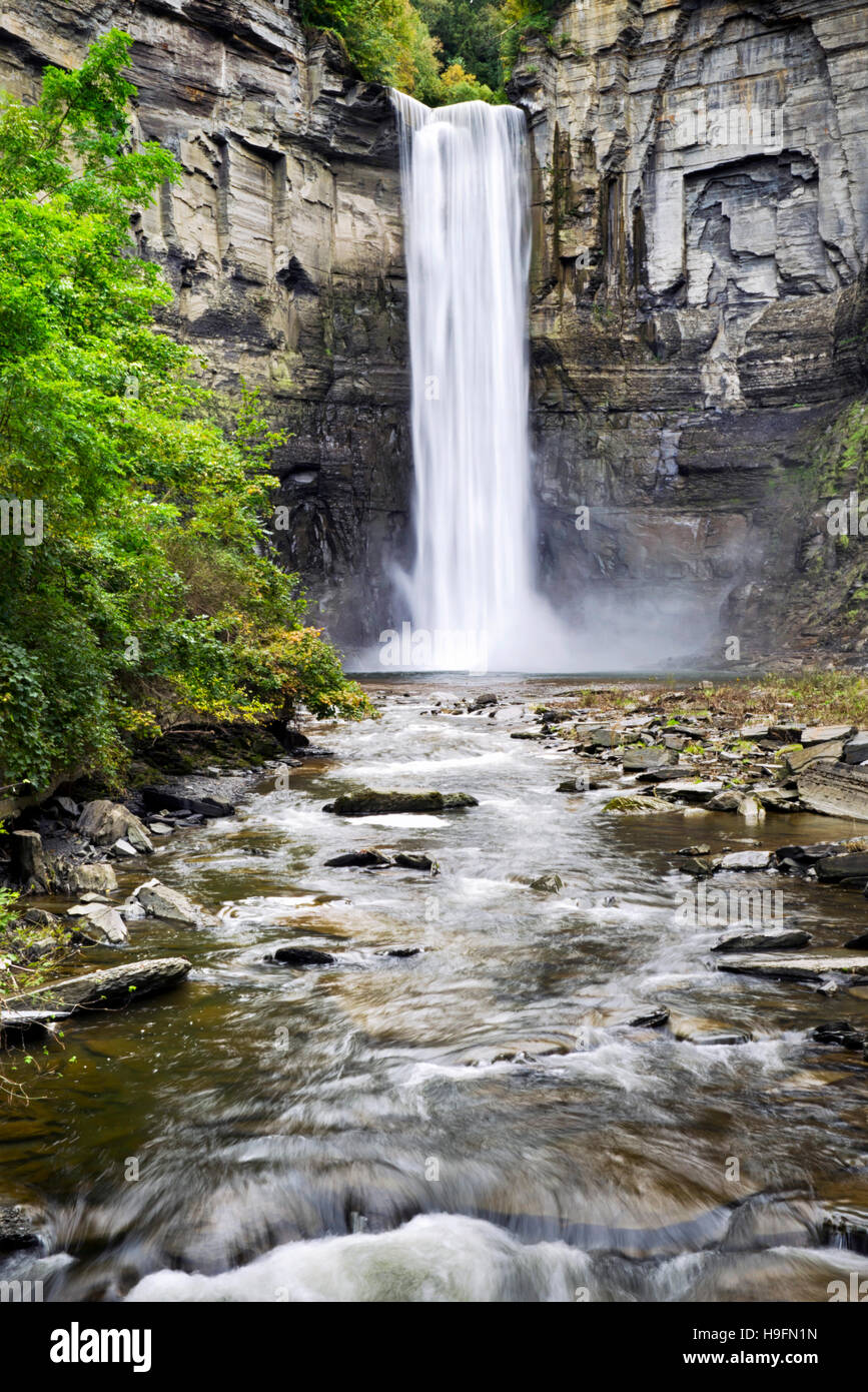 New York waterfall landscape at Taughannock Falls State Park in Trumansburg, Tompkins County Finger Lakes Region, - Stock Image