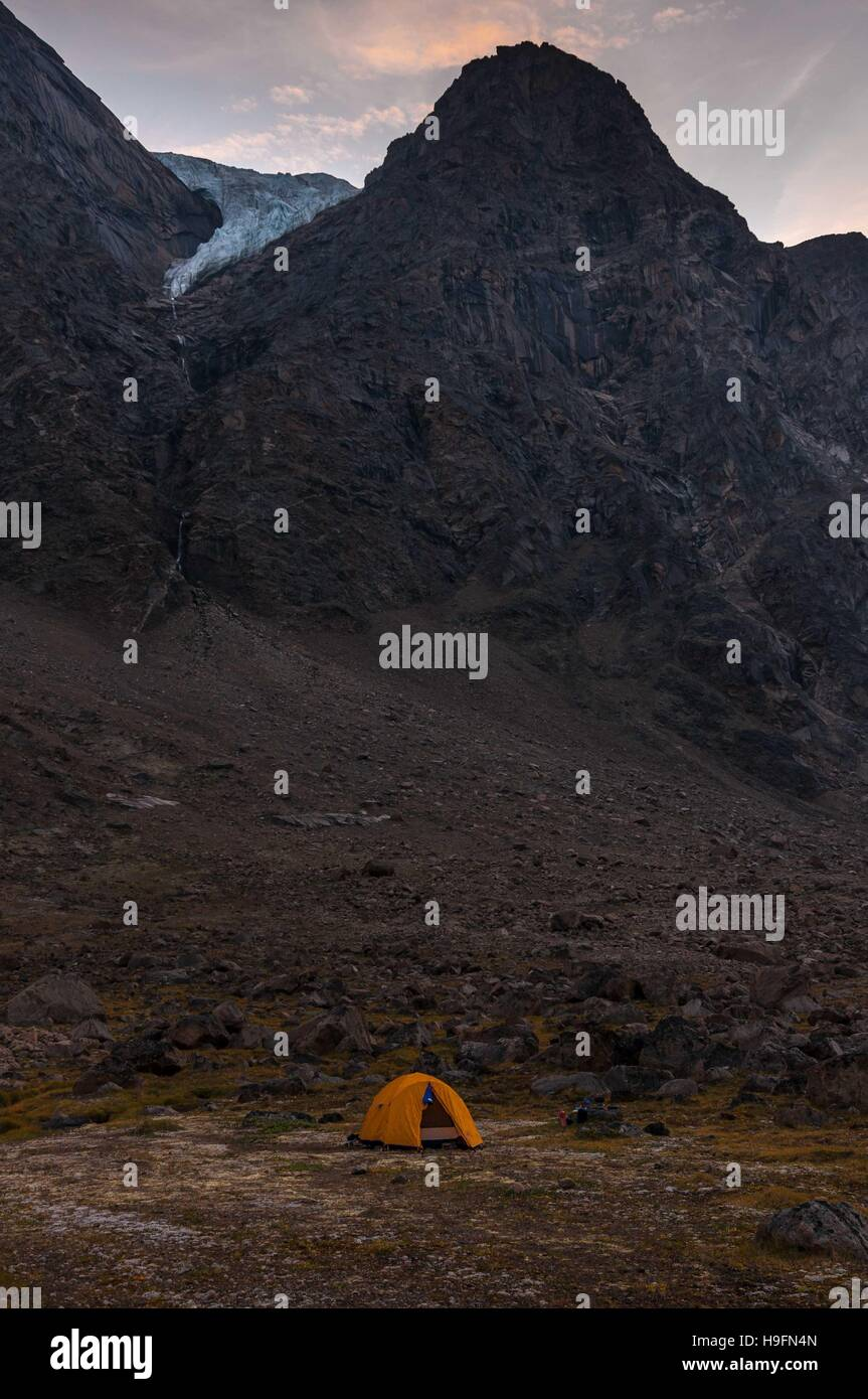 Base camping in Auyuittuq National Park scenery, Nunavut, Canada. 2/3 - Stock Image