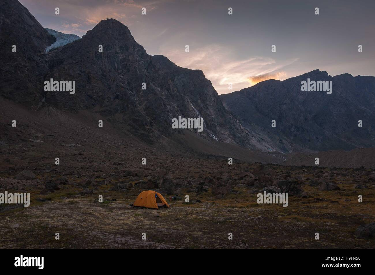 Base camp in Auyuittuq National Park scenery, Nunavut, Canada. - Stock Image