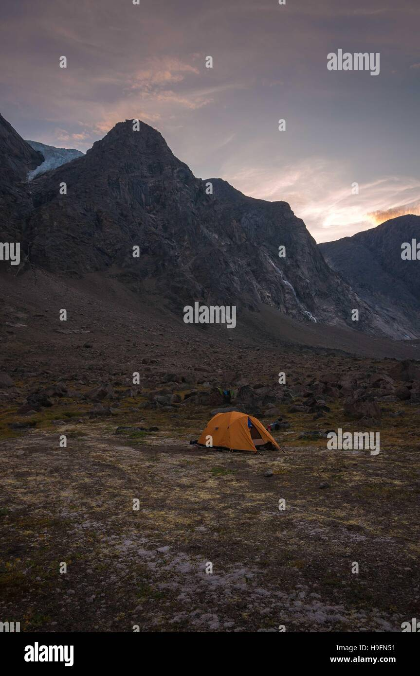 Base camping in Auyuittuq National Park scenery, Nunavut, Canada. 1/3 Stock Photo
