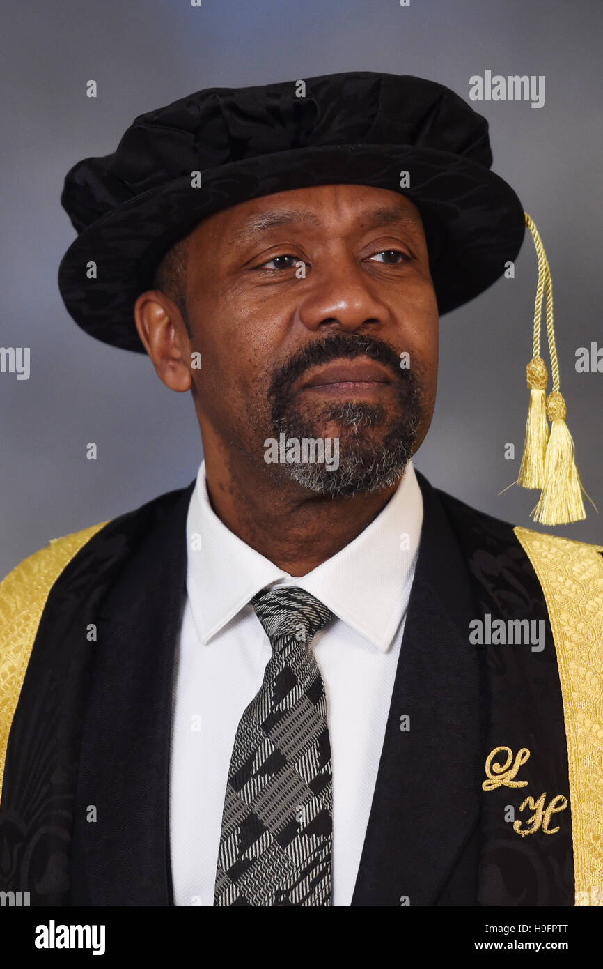 Sir Lenny Henry Wears His New Ceremonial Robes For The First Time As He Formally Accepts His Role As Chancellor Of Birmingham City University During The