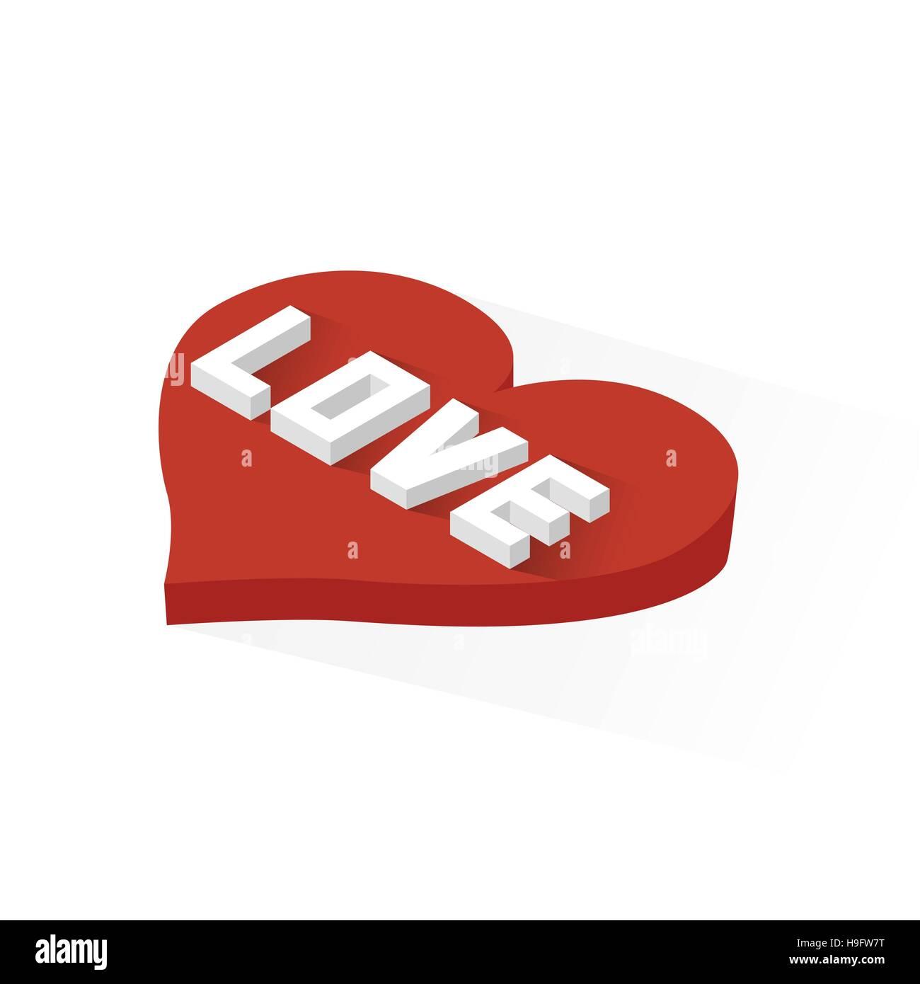Isometric Heart Love Icon - Stock Image