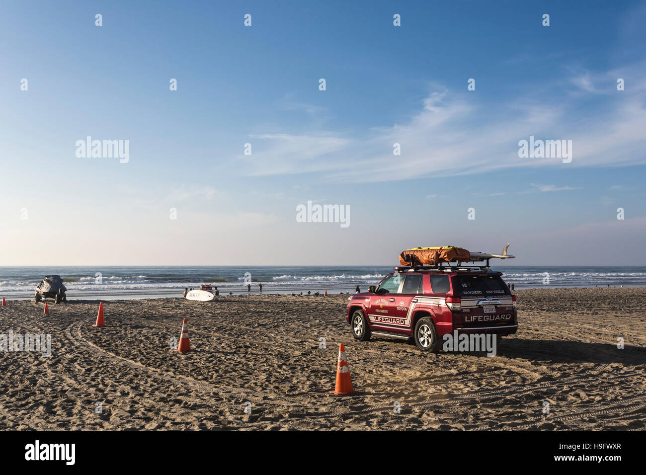 lifeguard truck and watercraft on mission beach in san diego ca - Stock Image