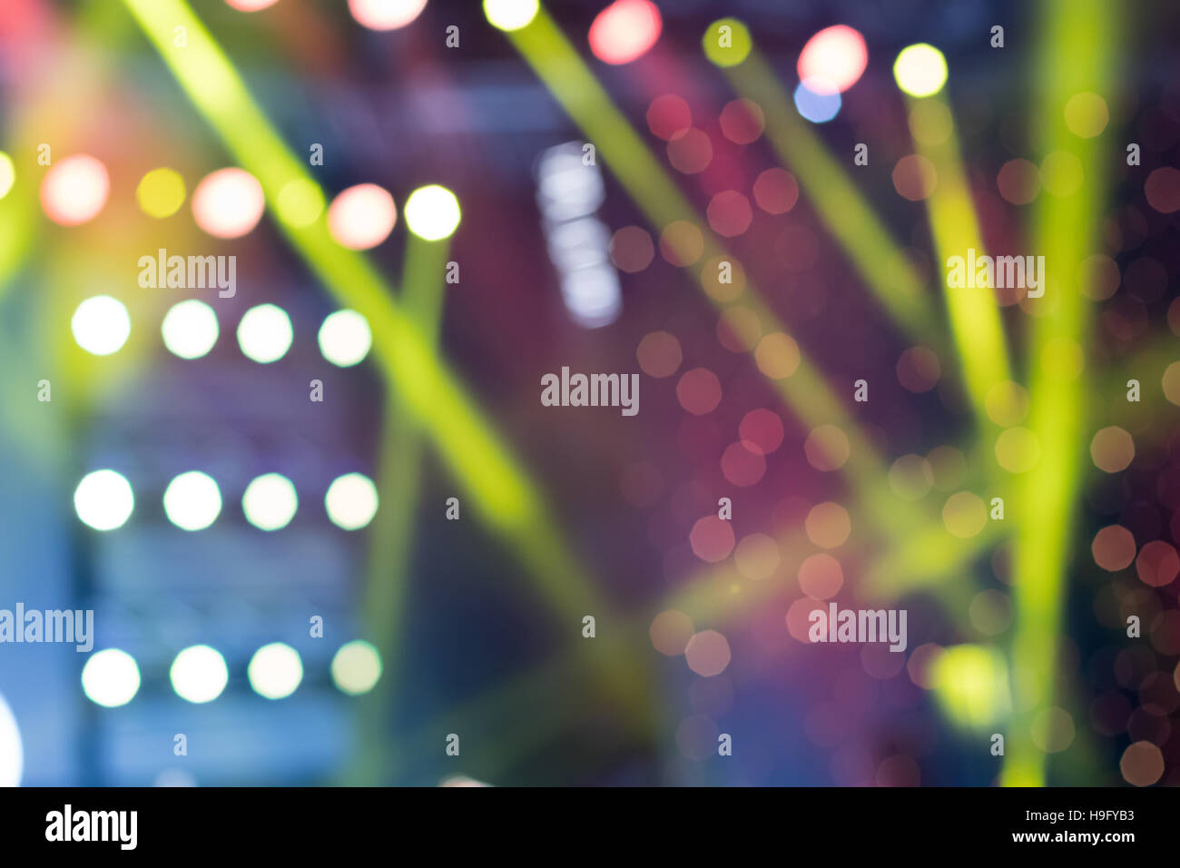 Colorful Stage Lights, light show at the Concert, Blurred lights - Stock Image