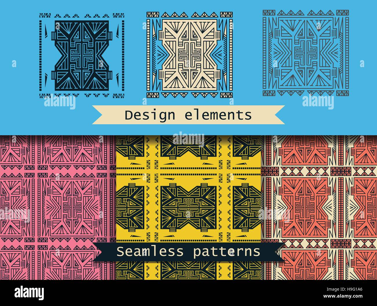 Set of seamless vector patterns. - Stock Image