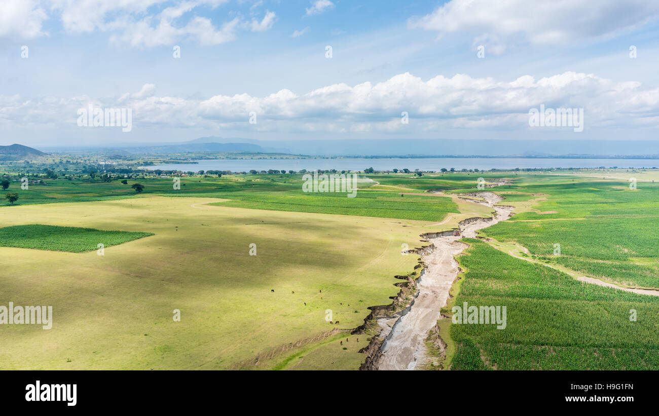 Aerial view of the landscapes of Hawassa, Ethiopia - Stock Image