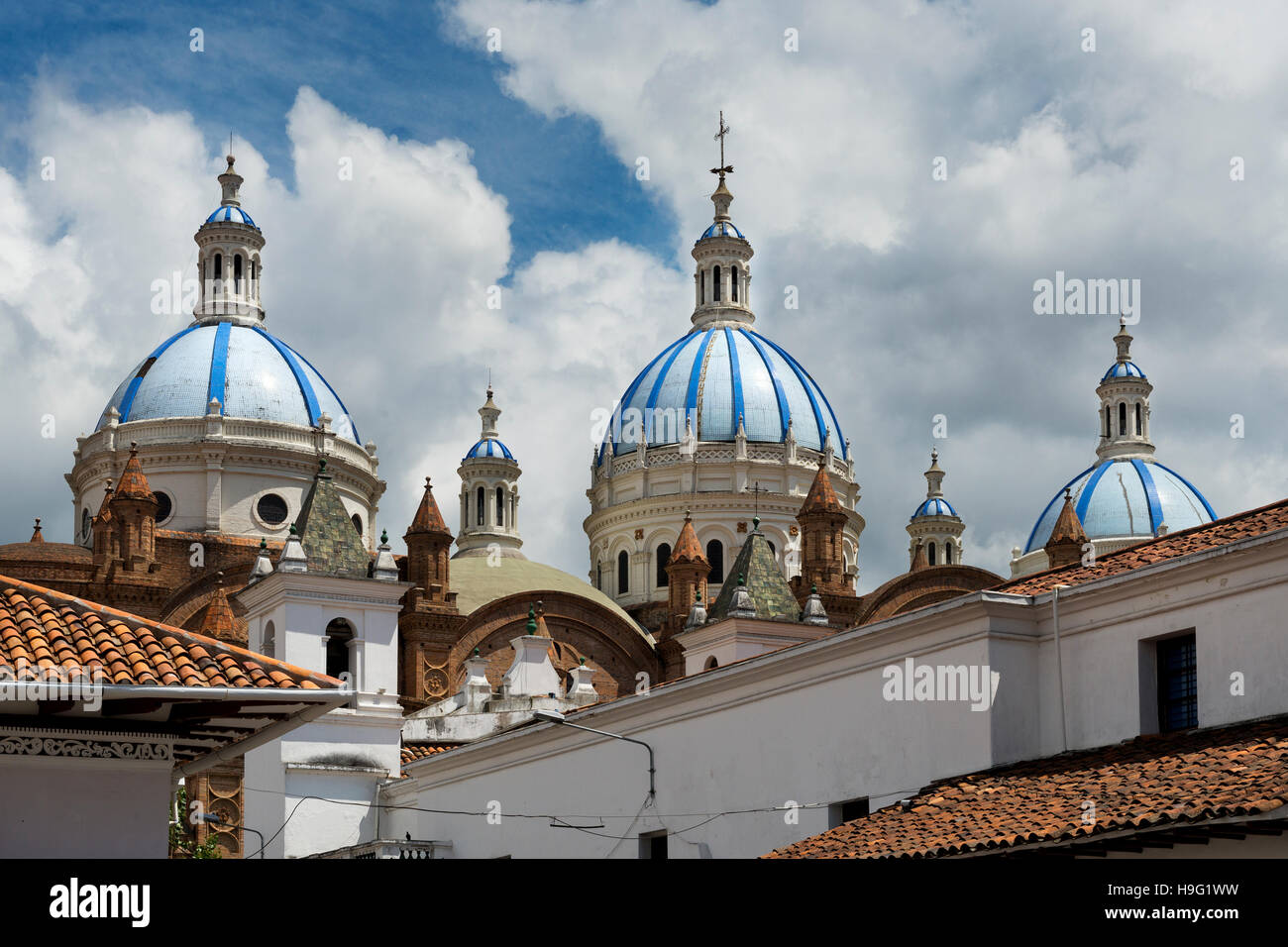 Detail of the blue domes of the Cathedral in Cuenca, Ecuador, South America - Stock Image