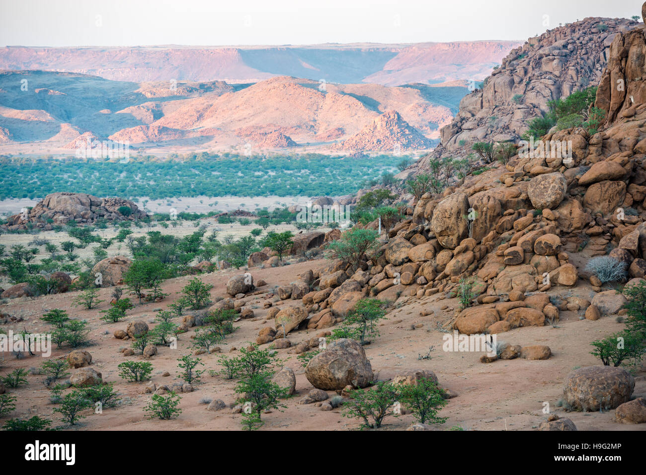 Rocky landscape of Kunene Region at Namibian winter with huge boulders and green trees - Stock Image