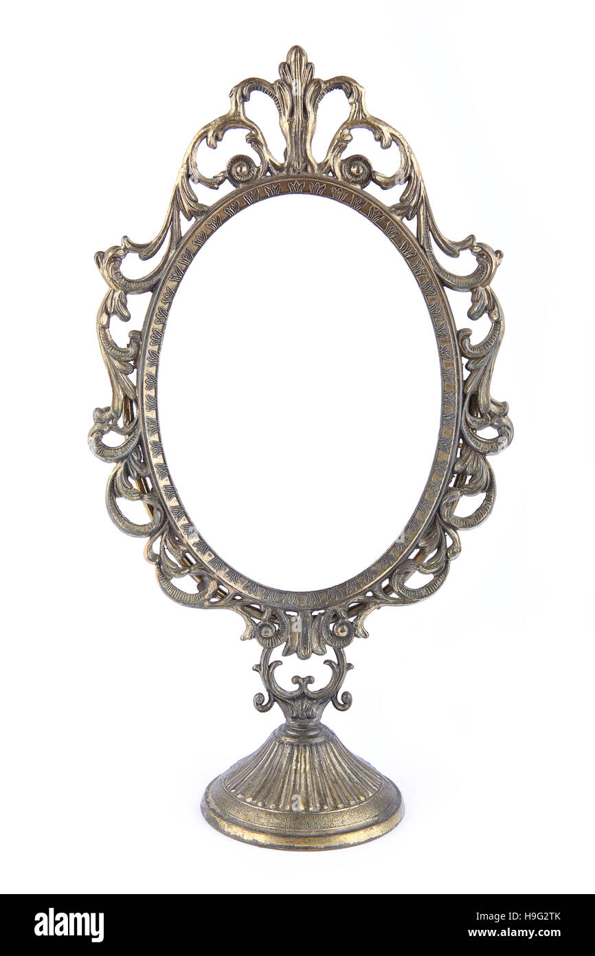 antique oval mirror frame. Vintage Metal Oval Mirror Frame Isolated On White Background Antique
