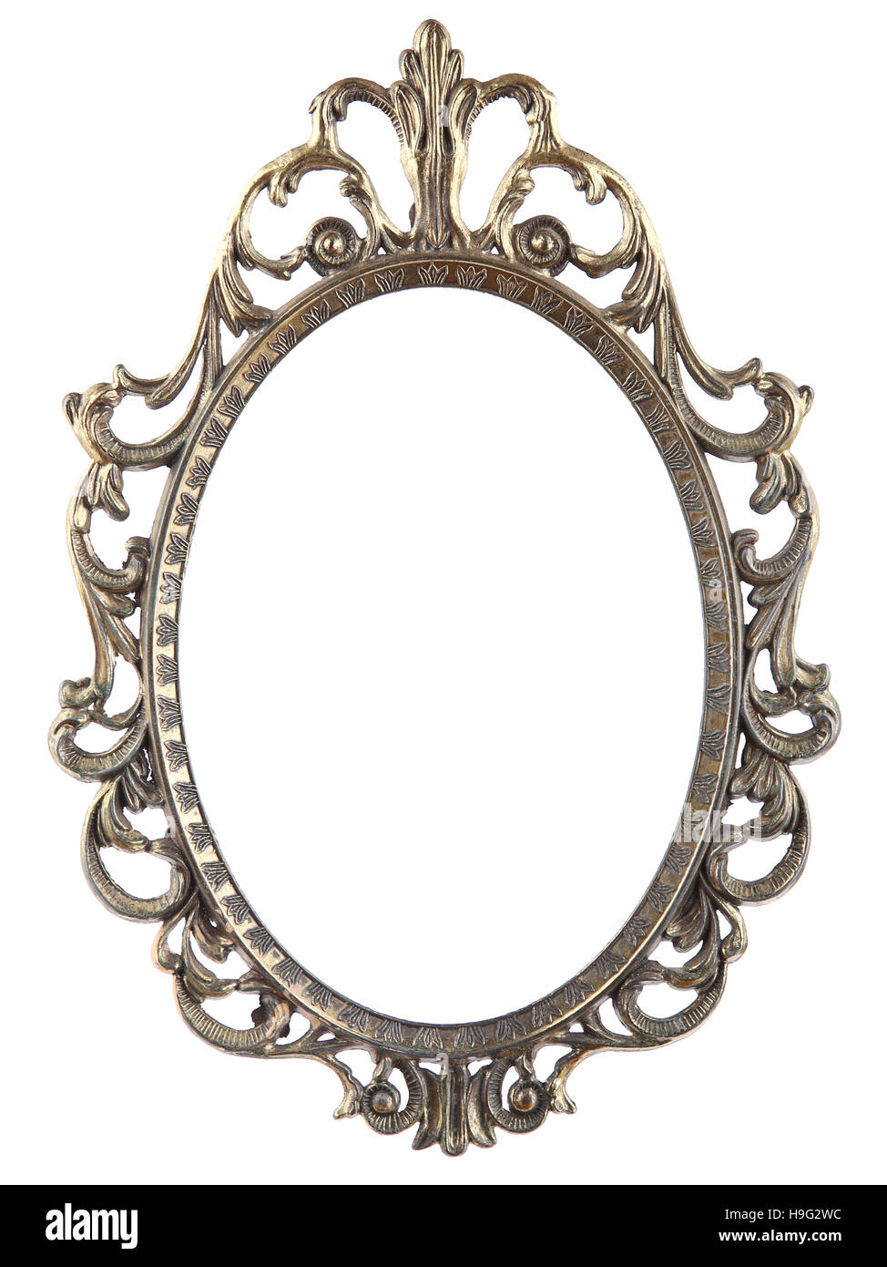 oval mirror frame. Vintage Metal Oval Mirror Frame Isolated On White Background M
