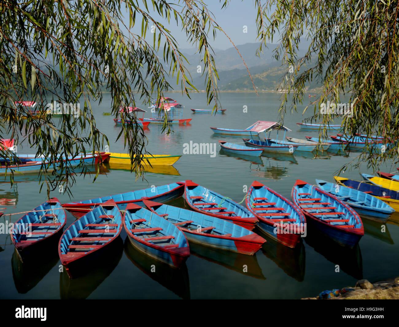 Pleasure Boats on Pokhara Lake (Phewa Tal) Nepal, Asia. - Stock Image
