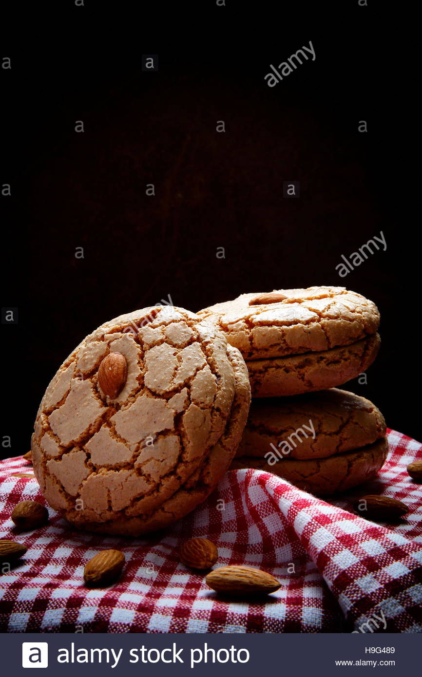 Bitter almond cookies are a delicious cookie variety made from - Stock Image