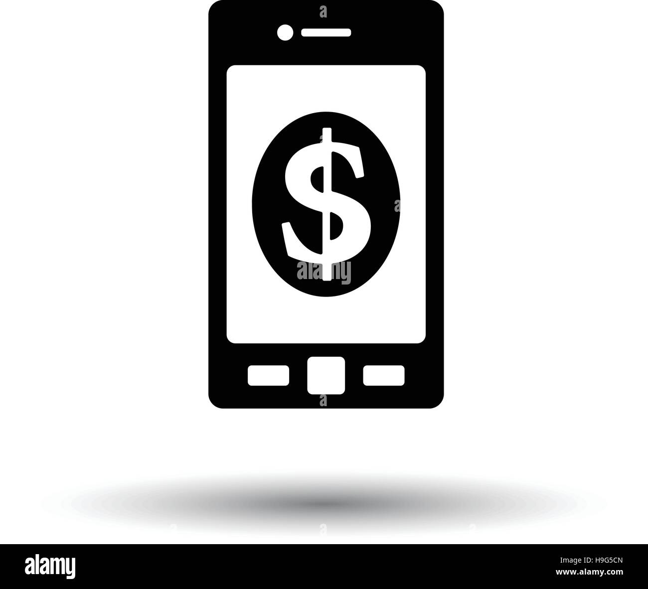 Smartphone with dollar sign icon. White background with shadow design. Vector illustration. - Stock Vector