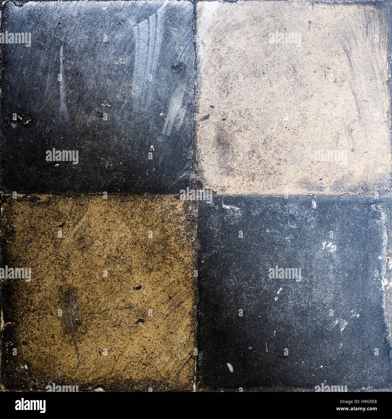 Very Old Retro Floor Tiles, circa 1920, four of them on square image - Stock Image
