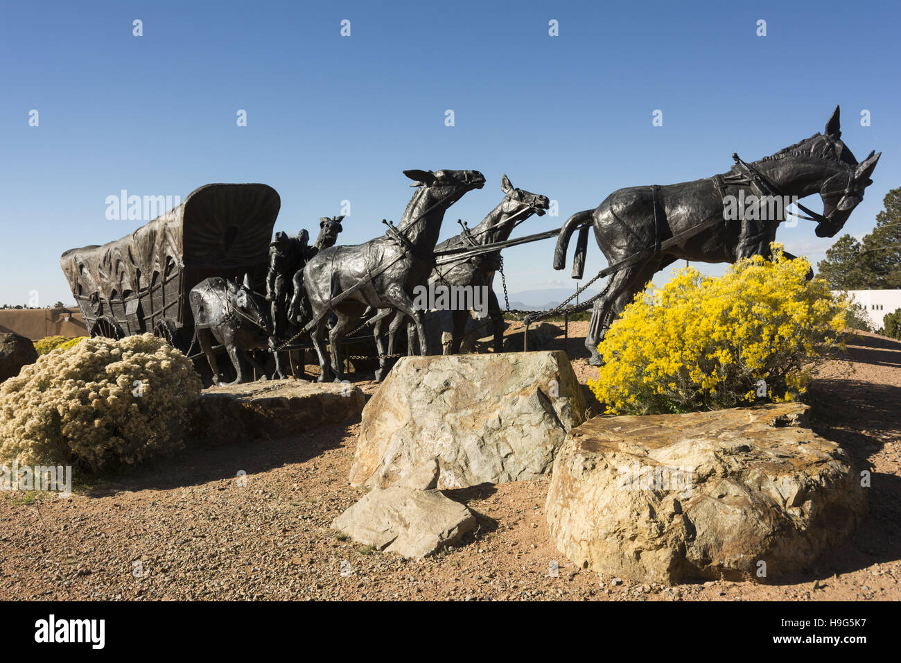New Mexico, Santa Fe, Museum Hill, Journey's End sculpture - Stock Image